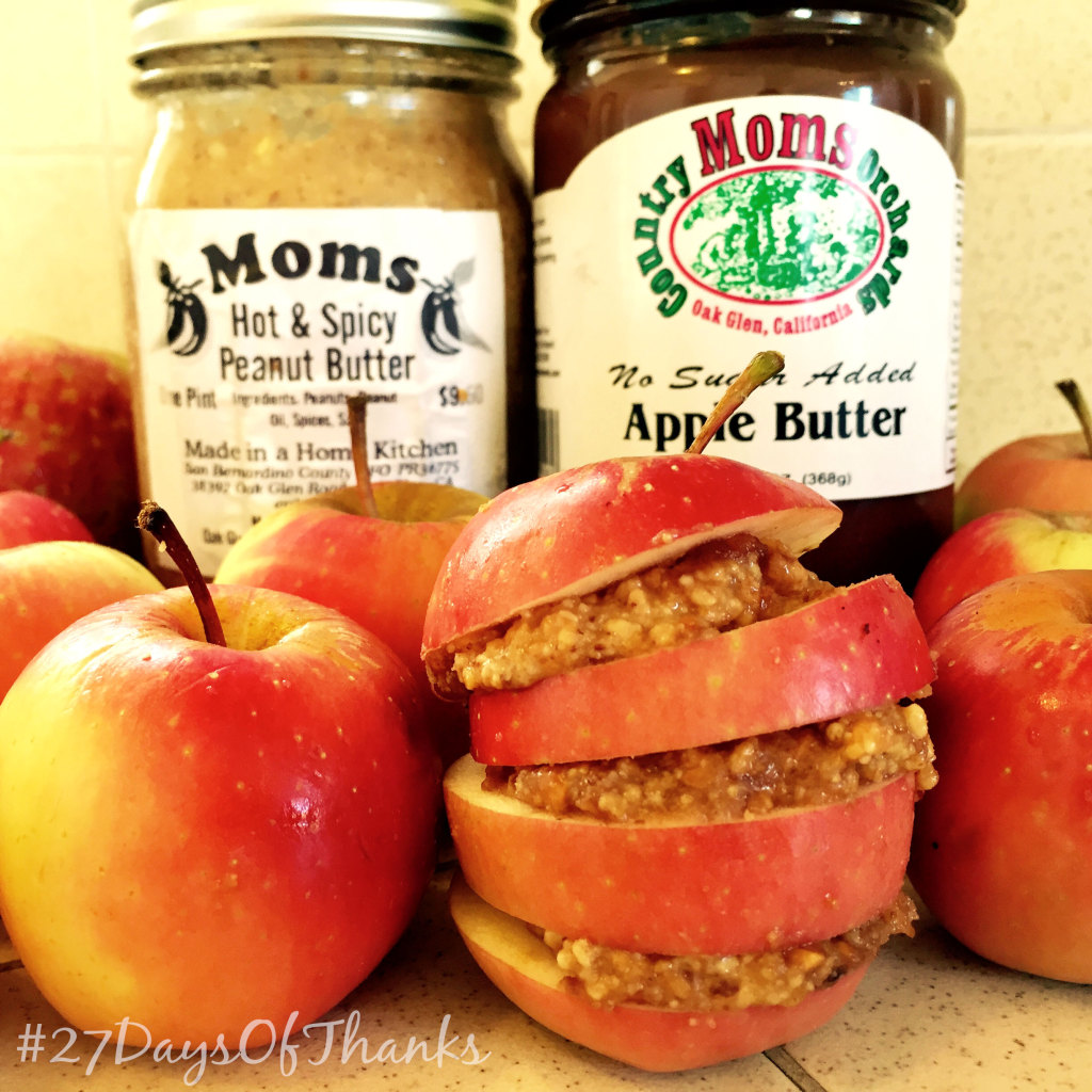 Spicy Peanut Butter and Apple Butter Apple Sandwich